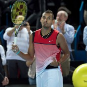 Nick Kyrgios celebrates his victory over Tomas Berdych at the Open 13 in Marseille in France; Getty Images