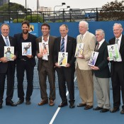 Australian tennis legends (L-R) Neale Fraser, John Newcombe, Patrick Rafter, Pat Cash, Ashley Cooper, Fred Stolle, Ken Rosewall, Tony Roche and Frank Sedgman pose after being honoured on a postage stamp as recipients of the 2016 Australia Post Legends Award; Vince Caligiuri/Getty Images