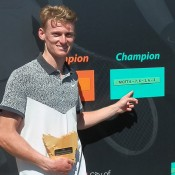 Blake Mott celebrates his victory at the Launceston International ATP Challenger event; Tennis Australia
