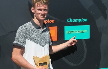 Blake Mott celebrates his victory at the Launceston International ATP Challenger event; Tennis Australia