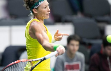 Sam Stosur in action during her victory over Jana Cepelova in the second singles rubber of the Australia v Slovakia Fed Cup tie; Roman Benicky