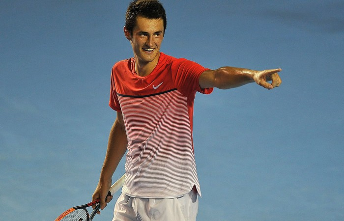 Bernard Tomic celebrates his semifinal victory over Alexandr Dolgopolov at the Abierto Mexicano Telcel in Acapulco; Getty Images