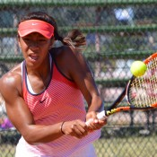 Destanee Aiava in action at the Canberra Claycourt International #1; Tennis Australia