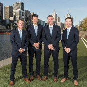 Australia's Davis Cup team of (L-R) Lleyton Hewitt, Bernard Tomic, Sam Groth and John Peers get ready for the official team dinner in Melbourne; Getty Images