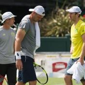 (L-R) Todd Woodbridge, Sam Groth and John Peers at an Australian team practice session at Kooyong; Elizabeth Xue Bai