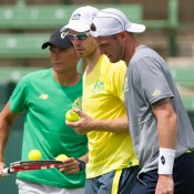 (L-R) Peter Luczak, John Peers and Sam Groth at an Australian team practice session at Kooyong; Elizabeth Xue Bai