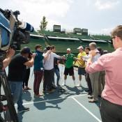 Lleyton Hewitt and John Peers front the media at Kooyong; Elizabeth Xue Bai