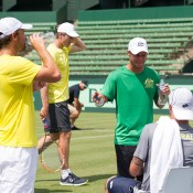 The Australian Davis Cup team practises at Kooyong Lawn Tennis Club; Elizabeth Xue Bai