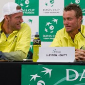 Sam Groth (L) and Lleyton Hewitt speak to the media following the Australia v United States official draw ceremony at Kooyong Lawn Tennis Club