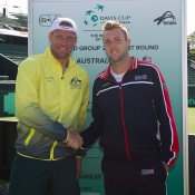 Sam Groth (L) and Jack Sock at the Australia v United States official draw ceremony at Kooyong Lawn Tennis Club