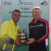 Australian captain Lleyton Hewitt (L) and US captain Jim Courier at the Australia v United States official draw ceremony at Kooyong Lawn Tennis Club