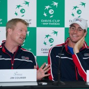 US captain Jim Courier (L) and John Isner speak to the media following the Australia v United States official draw ceremony at Kooyong Lawn Tennis Club