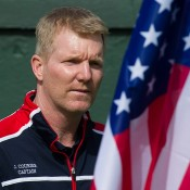 American captain Jim Courier at the Australia v United States official draw ceremony at Kooyong Lawn Tennis Club
