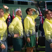 The Australian team of (L-R) John Peers, Sam Groth, Bernard Tomic and Lleyton Hewitt at the Australia v United States official draw ceremony at Kooyong Lawn Tennis Club