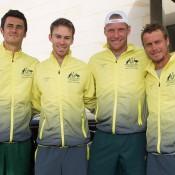 The Australian team of (L-R) Bernard Tomic, John Peers, Sam Groth and Lleyton Hewitt arrives for the Australia v United States official draw ceremony at Kooyong Lawn Tennis Club; Elizabeth Xue Bai