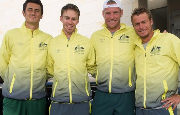 The Australian team of (L-R) Bernard Tomic, John Peers, Sam Groth and Lleyton Hewitt arrives for the Australia v United States official draw ceremony at Kooyong Lawn Tennis Club; Elizabeth Xue Bai