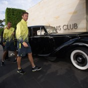 John Peers (R) and Lleyton Hewitt arrive for the Australia v United States official draw ceremony at Kooyong Lawn Tennis Club; Elizabeth Xue Bai