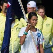The Australian team is led out onto court for the Australia v United States official draw ceremony at Kooyong Lawn Tennis Club; Elizabeth Xue Bai