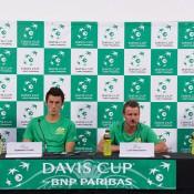 The Australian Davis Cup team of (L-R) John Peers, Bernard Tomic, captain Lleyton Hewitt and Sam Groth front the media; Elizabeth Xue Bai