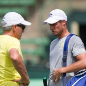 Lleyton Hewitt (R) and Tony Roche during an Australian team practice session at Kooyong Lawn Tennis Club; Elizabeth Xue Bai