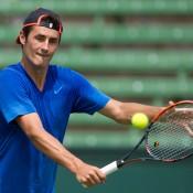 Bernard Tomic practises at Kooyong Lawn Tennis Club; Elizabeth Xue Bai