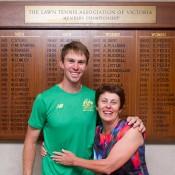 John Peers with his mother, Elizabeth Peers, at Kooyong Lawn Tennis Club; Elizabeth Xue Bai