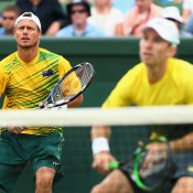 Lleyton Hewitt (L) and John Peers in action during the doubles rubber of the Australia v United States Davis Cup World Group tie at Kooyong Lawn Tennis Club; Getty Images