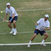 Bob (L) and Mike Bryan in action during the doubles rubber of the Australia v United States Davis Cup World Group tie at Kooyong Lawn Tennis Club; Getty Images