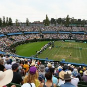 A general view over Centre Court during the doubles rubber of the Australia v United States Davis Cup World Group tie at Kooyong Lawn Tennis Club; Getty Images