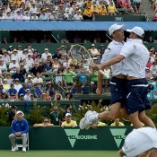 Bob and Mike Bryan celebrate their victory in the doubles rubber of the Australia v United States Davis Cup World Group tie at Kooyong Lawn Tennis Club; Getty Images