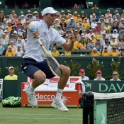 Mike Bryan in action during the doubles rubber of the Australia v United States Davis Cup World Group tie at Kooyong Lawn Tennis Club; Getty Images