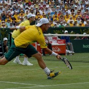 John Peers (L) and Lleyton Hewitt in action during the doubles rubber of the Australia v United States Davis Cup World Group tie at Kooyong Lawn Tennis Club; Getty Images