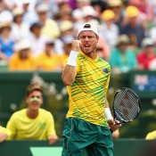 Lleyton Hewitt celebrates a winning point during the doubles rubber of the Australia v United States Davis Cup World Group tie at Kooyong Lawn Tennis Club; Getty Images