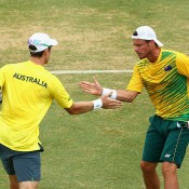 Lleyton Hewitt (R) and John Peers in action during the doubles rubber of the Australia v United States Davis Cup World Group tie at Kooyong Lawn Tennis Club; Getty Images