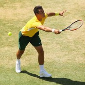 Bernard Tomic in action during the reverse singles rubber of the Australia v United States Davis Cup World Group tie at Kooyong; Getty Images