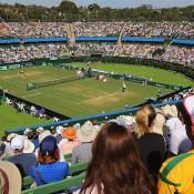 A view over Centre Court for the reverse singles rubber between Bernard Tomic and John Isner in the Australia v United States Davis Cup World Group tie at Kooyong; Getty Images