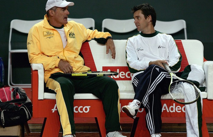 John Fitzgerald and Todd Woodbridge ahead of Australia's World Group first round tie against Switzerland in Geneva in 2006; Getty Images