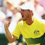 Australian captain Lleyton Hewitt celebrates a winning point to Bernard Tomic in the second singles rubber of the Australia v United States Davis Cup tie at Kooyong Lawn Tennis Club; Getty Images