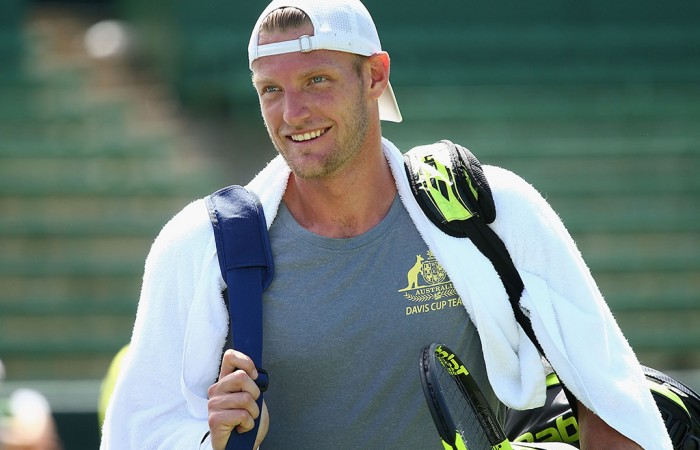 Sam Groth during an Australian team practice session at Kooyong ahead of the Australia v United States Davis Cup tie; Getty Images