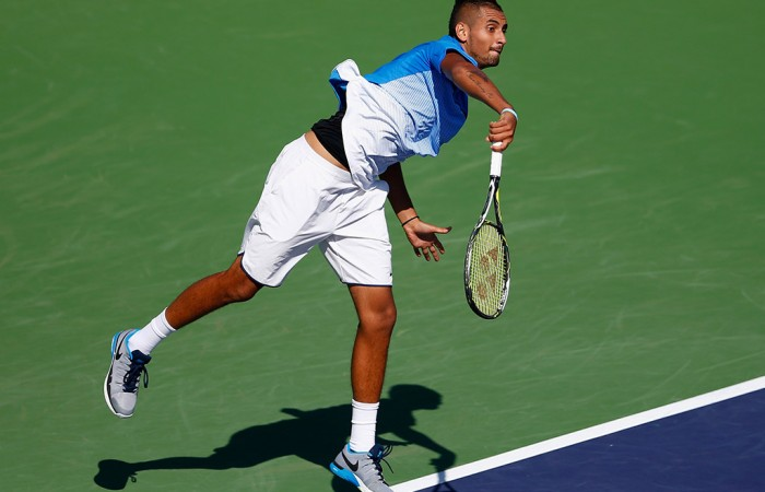 Nick Kyrgios in action at the BNP Paribas Open in Indian Wells; Getty Images