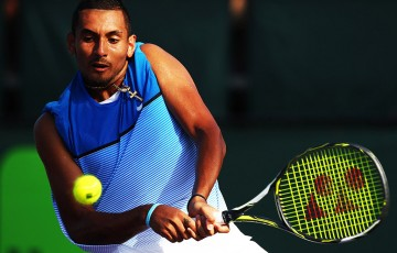 Nick Kyrgios in action during his second-round victory over Marcos Baghdatis at the Miami Open; Getty Images