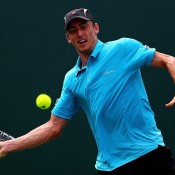John Millman in action during his first-round victory over Pablo Carreno Busta at the Miami Open; Getty Images