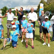 Pat Rafter (back row, third from left) and Tennis Australia president Steve Healy (back right) at the announcement of plans for a multimillion dollar tennis facility in Darwin; photo credit NT Government