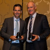 Todd Woodbridge (L) and John Fitzgerald are presented with Davis Cup Commitment Awards at the official team dinner in Melbourne; SMP Images