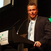 Australian captain Lleyton Hewitt speaks at the Davis Cup official team dinner in Melbourne; SMP Images