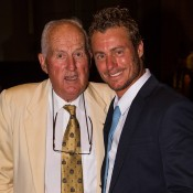 Current Australian captain Lleyton Hewitt (R) and former captain Neale Fraser at the Davis Cup official team dinner in Melbourne; SMP Images