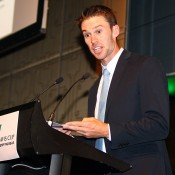 Australian debutant John Peers speaks at the Davis Cup official team dinner in Melbourne; SMP Images