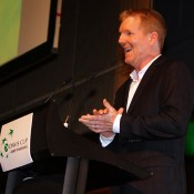 US captain Jim Courier speaks at the Davis Cup official team dinner in Melbourne; SMP Images
