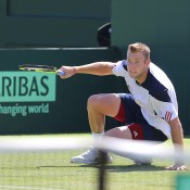 Jack Sock in action against Bernard Tomic during the second singles rubber of the Australia v United States Davis Cup tie at Kooyong Lawn Tennis Club; SMP Images