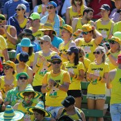 Aussie fans show their support during the Australia v United States Davis Cup tie at Kooyong Lawn Tennis Club; SMP Images